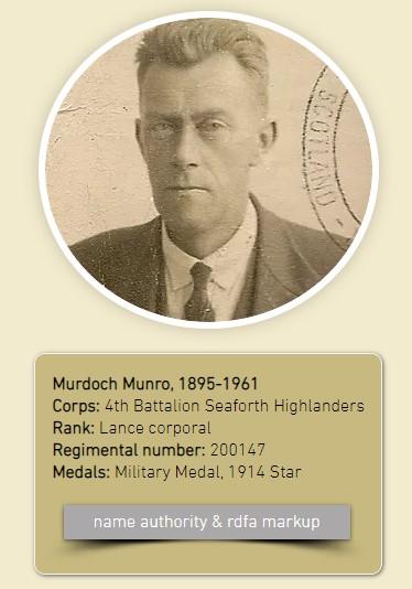 image of Murdoch Munro circa 1944, Murdoch Munro, 1895-1961, Corps: 4th Battalion Seaforth Highlanders, Rank: Lance corporal, Regimental number: 200147, Medals: Military Medal, 1914 Star