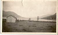 Sheep shed and stone wall on shore of Loch Broom, (Wester Ross, Scotland), circa 1930-1950